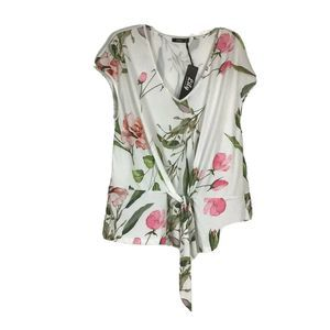 Lily By Firmiana White Floral Knit Tie Front Top